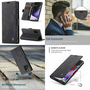 For Samsung Galaxy Note 20 Ultra Wallet Case Pu Leather Card Holder Stand Black