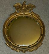Vintage Or Antique Nurre13 Ball Federal Wood And Gilt Gold Eagle Wall Mirror