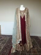 Golden Embroidery Walima Dress With Red Velvet Under Dress And Pastel Blue Veil