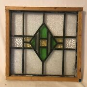 Antique Stained/leaded Glass Panel With Wood Frame