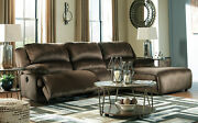 Living Room Sofa Set Brown Microfiber Reclining Sectional W. Power Option If1v