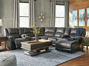 Modern Living Room Gray Faux Leather Reclining 7pcs Sofa Couch Sectional Set F14