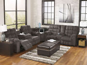 Modern Sectional Living Room Couch Set - New Gray Chenille Reclining Sofa If1x