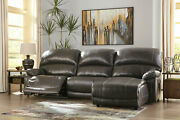 Modern Living Room Sectional - 3pcs Gray Leather Power Reclining Sofa Set If1k