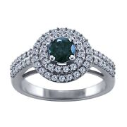 1.05 Ct Round Cut Natural Blue Diamond Real 14k White Gold Halo Engagement Ring