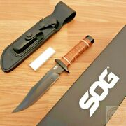 Sog Bowie 2.0 Fixed Knife 6.375 Aus-8 Steel Blade Brown Leather Washers Handle
