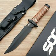 Sog Super Sog Bowie Fixed Knife 7.375 Aus-8 Steel Blade Leather Wrapped Handle