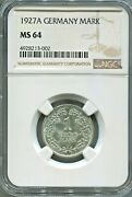 Germany - Spectacular Scarce Silver Mark 1927 A Best Date Ngc Certified Ms 64
