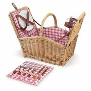 Picnic Time Piccadilly Picnic Basket For Two, Red And White Plaid 202-19-114