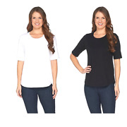 Denim And Co. Essentials Set Of Two Elbow Sleeve Knit Tops Black White - New