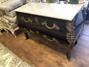 Antique French Bombe Curly Bronze Framed Dresser Drawer Cabinet Early Xx Century