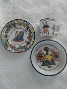 1992 And Co Japan Porcelain Childs Five Little Pigs Bowl, Cup And Saucer