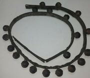 Antique Brass Etched Horse Sleigh Bells On Leather Strap Varied Sized Bells