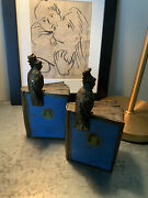 Antique Heavy And Large Parrot Bird World Globe Map Atlas Pompeian Bronze Bookends