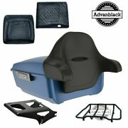Legend Blue Denim King Tour Pack Luggage Black Hinges And Latch For Harley 97-2020