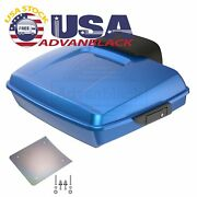 Advanblack Electric Blue Razor Tour Pack Trunk Luggage For 97-20 Harley Touring
