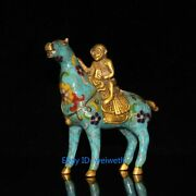 Collection Chinese Old Cloisonne Brass Handwork Horse Monkey Statue