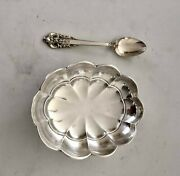 Vintage Wallace Sterling Silver 925 Scalloped Footed Candy Dish Bowl With Spoon