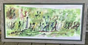 Purvis Young Painting Mixed Media Lively Procession 20 X 42 + Frame