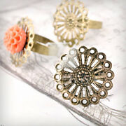 10pcs Flower Ring Mountings Engagement Settings Antique Brass 25mm Wholesale