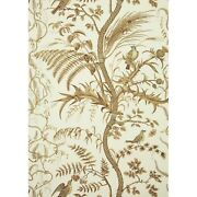 Fabric - Brunschwig And Fils - Bird And Thistle Print - Beige