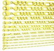 14k Solid Yellow Gold Figaro Link Chains Menand039s/womenand039s 1.5mm - 9.5mm 16 - 30