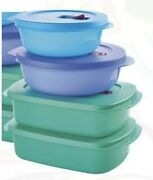 Tupperware 4 Pc Crystalwave Microwave Bowl Set 2.5 And 4 Cups Plus Stain Guard