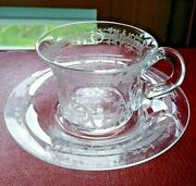 Scroll And Shamrock Needle Etched Demitasse Crystal Cup And Saucer Antique Vintage