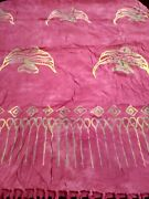 Vintage Sarong/pareo/wrappink W/gold Angel Fishfringehandmade In Baliveuc
