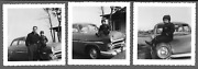 Lot Of 3 Vintage 1950s Photos Dad With Young Son Sitting On Hood Of Family Car