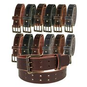 Mens Buffalo Leather Belt_antique Brass Double Prong Buckle 1 Andfrac12andrdquo Amish Handmade