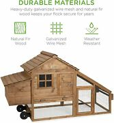 Mobile Chicken Coop Large Wood Frame Casters Wheels Pet Carrier Home Rabbit Home