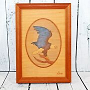 Nelson Wood Eagle Picture Hudson River Inlay Signed Art Marquetry 9.75 X 6.75
