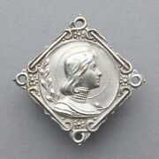 French Antique Religious Brooch. Saint Joan Of Arc. Jeanne Dand039arc. Medal.