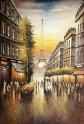 Classical Eifel Tower Street 5, 48x72,100 Hand Painted Oil Painting On Canvas