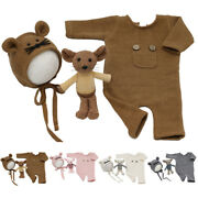 Newborn Photography Prop Knit Romper Hat Rat Doll Set Baby Photo Props Outfits