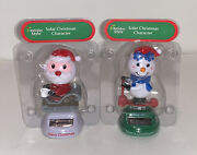 Solar Dancing Santa In Sleigh And Snowman On Scooter Christmas Bobble Head New