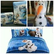 New Disney Frozen Twin/full Comforter And Full Sheet Set +olaf Plush6 Peices