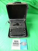 Vintage Royal Quiet Deluxe Portable Typewriter Glass Keys 1940s No Returns As-is