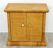 Art Deco Style Bielecky Bros Cane Rattan And Brass Cabinet Side End Table 1990s