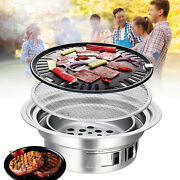 35cm Round Iron Korean Bbq Grill Plate Barbecue Non-stick Pan With Holder Kitch