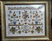 Framed Completed Finished Cross Stitch Mary Ann Farmer Reproduction Sampler Silk