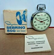 Serviced 1966 Ingraham Sebring 500 Dollar Watch Stop Watch In Box With Manual