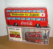 Vintage 1970and039s Japan Tin Friction Coca-cola Double Decker Bus Nmib