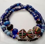 Spectacular Antique Glass Fur Trade Beads Collection Russian Blue Dutch