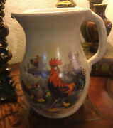 Antique Handmade Pottery Pitcher Country Decor Rooster And Hen With Chicks