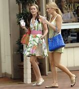 Patent Puzzle Bag Purse Cc Charm Blue Lrge Tote Gold Chain Blake Lively