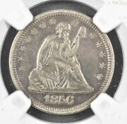 1856 Ngc Au Details Liberty Seated Quarter Dollar Abt Uncirculated