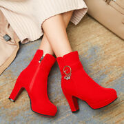 Womens Winter Sexy Round Toes Platform High Heels Solid Ankle Boots Shoes