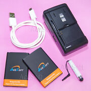 2x 3000mah Extended Slim Battery Dock Charger Cable Pen For Lg Optimus Fuel L34c